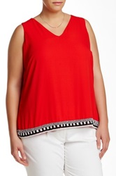 Vince Camuto Beaded Hem Woven Tank Plus Size Red