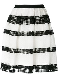 Michael Michael Kors Striped Lace Pleated Skirt White