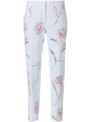 Paul Smith Inverted Floral Print Cropped Trousers Blue