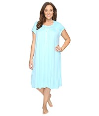 Eileen West Plus Size Waltz Nightgown Aqua Women's Pajama Blue