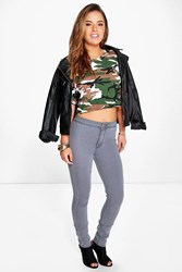Boohoo Zoe High Rise Grey Disco Jean Grey