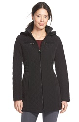 Laundry By Design Corduroy Trim Hooded Quilted Coat Black