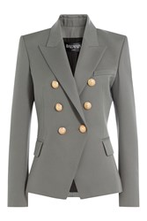 Balmain Wool Blazer With Embossed Buttons Grey