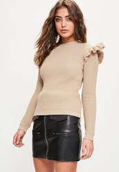 Missguided Nude Frill Shoulder Knitted Jumper Stone