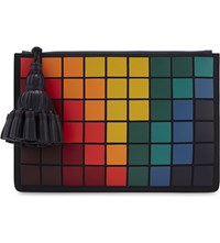 Anya Hindmarch Georgiana Giant Pixels Leather Pouch Indigo Suede