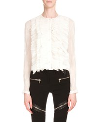Givenchy Long Sleeve Ruffle Front Top White Women's