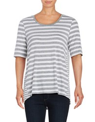 Lord And Taylor Petite Striped High Low Tee Silver