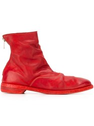 Guidi Rear Zip Ankle Boots Red