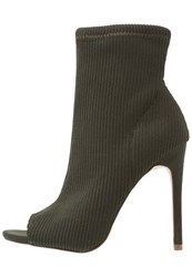 New Look Patience High Heeled Ankle Boots Dark Khaki