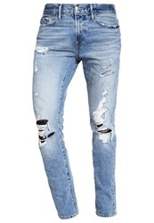 Abercrombie And Fitch Slim Fit Jeans Light Destroyed Blue Denim