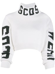 Gcds Logo Roll Neck Sweater White