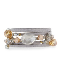Greenbeads By Emily And Ashley Crystal Suede Wrap Bracelet Gray