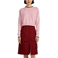 Barneys New York Tipped Cashmere Crop Sweater Pink