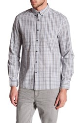 Kenneth Cole Long Sleeve Slim Fit Multicolor Plaid Shirt Gray