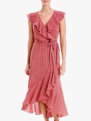 Max Studio Maxi Sleeveless Geo Print Wrap Dress Scarlett Navy
