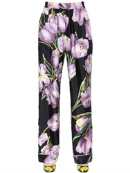 Dolce And Gabbana Tulip Printed Silk Twill Pants