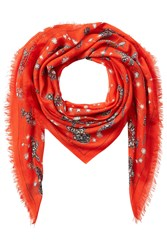 Alexander Mcqueen Jeweled Print Scarf With Silk Red