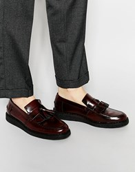 Fred Perry X George Cox Leather Tassel Loafers Red