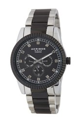 Akribos Xxiv Men's Quartz Multi Functional Diamond Bracelet Watch 0.06 Ctw Black