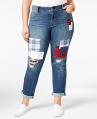 American Rag Trendy Plus Size Patched Asbury Wash Boyfriend Jeans Only At Macy's