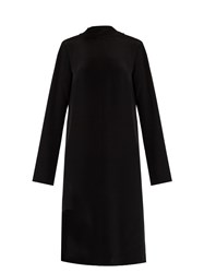 Tibi Tie Back Silk Crepe Dress Black