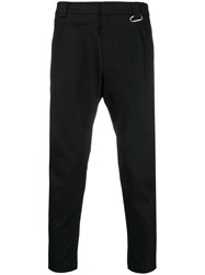 Low Brand Cropped Hook Detail Trousers Black