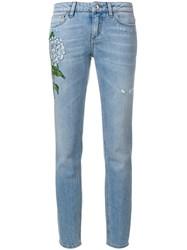 Dolce And Gabbana Floral Patch Straight Leg Jeans Women Cotton 38 Blue
