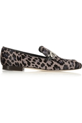 Jimmy Choo Wisa Leopard Print Calf Hair Loafers
