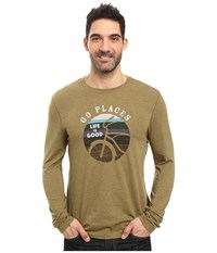 Life Is Good Go Places Stripes Long Sleeve Cool Tee Woodland Green Men's Long Sleeve Pullover