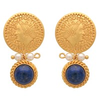 Carousel Jewels Pearl And Lapis Earrings With Gold Coin Blue Gold Neutrals
