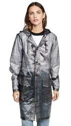 Rains Check Hooded Trench Check Charcoal