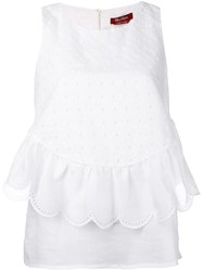 Max Mara Studio Scalloped Ruffle Sleeveless Blouse Women Cotton 44 White