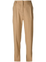 Msgm High Waisted Trousers Brown
