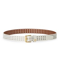 Lauren Ralph Lauren Diamond Laser Cut Belt Eggshell