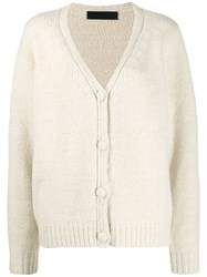 The Elder Statesman Relaxed Fit Cashmere Cardigan White