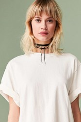 Urban Outfitters Satin Lace Up Choker Necklace Black