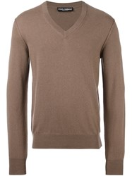 Dolce And Gabbana V Neck Jumper Brown