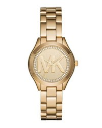 Michael Michael Kors 33Mm Mini Slim Runway Crystal Bracelet Watch Gold