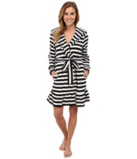 Betsey Johnson Vintage Terry Robe Mojito Stripe Raven Black Women's Robe