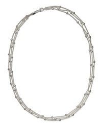 Giani Bernini Sterling Silver Necklace Station Bead 3 Chain Necklace