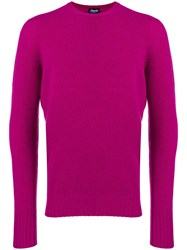 Drumohr Long Sleeve Fitted Sweater Pink And Purple