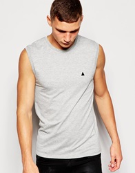 Asos Muscle Fit Sleeveless T Shirt With Chest Embroidery With Stretch Greymarl