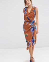 Asos Drape Front Midi Dress In Brown Floral Multi