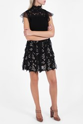 Giambattista Valli Tweed Ruffle Skirt Black