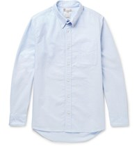 Visvim Albacore Button Down Collar Denim Panelled Cotton Oxford Shirt Light Blue