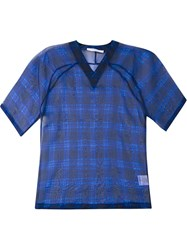 Givenchy Sheer Check Print Top Blue