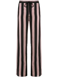 Marques Almeida Marques'almeida Striped High Waisted Trousers Pink And Purple