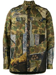 Dries Van Noten Camouflage And Floral Multi Patch Shirt Green