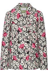Valentino Double Breasted Floral Print Wool Jacket Cream