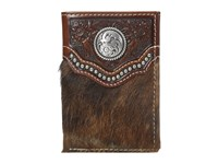 Ariat Calf Hair Concho Trifold Wallet Brown Wallet